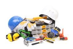 Safety gear kit with tool box. Stock Photography
