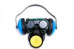 Safety Gear Mask,ear defenders and goggles Royalty Free Stock Image