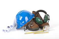 Safety gear and plans Stock Images