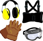 Safety Gear : PPE 2. 4 common safety items: earmuffs, back brace/supporter, safety goggles, leather work gloves Stock Image