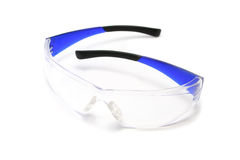 Safety Glasses. Pair of strong plastic safety glasses for eye protection Royalty Free Stock Photo