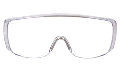 Safety glasses. Photo gauzy protective spectacles on white background isolated, close up full face Stock Photo