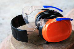 Safety glasses and ear guard Royalty Free Stock Image