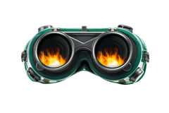 Safety glasses and fire reflect Stock Photography