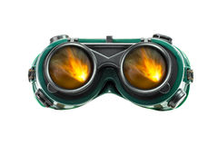 Safety glasses and fire reflect Stock Image