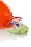 Safety glasses, helmet, gloves Royalty Free Stock Photography
