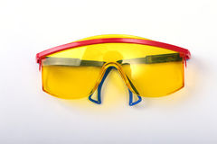 Safety glasses for work. Eye protection during operation on a white background . Stock Photos