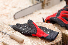 Safety gloves for lumber industry Stock Images