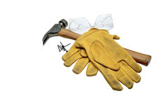 Safety Goggles, Hammer, Nails and Work Gloves Stock Photography
