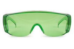 Safety green glasses Stock Photography