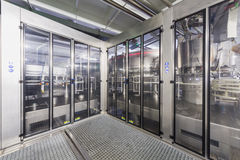 Safety guards with doors in the shop of brewery Ochakovo Stock Image