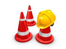 Safety hart and Cones Stock Photography