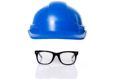 Safety hat and glasses Royalty Free Stock Photography