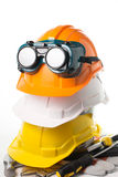 Safety hat and goggles glasses isolated Royalty Free Stock Photos