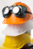 Safety hat and goggles glasses isolated Stock Image