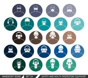 Safety and health protection equipment. Colection of safety and health protection equipment to be worn on head. Set of safety equipment signs. Vector stock illustration