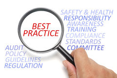 Safety and health at workplace conceptual, focus on Best Practice Stock Image
