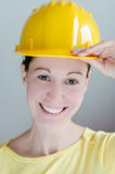 Safety helmet. Confident construction engineer in yellow safety helmet Royalty Free Stock Images