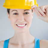 Safety Helmet. Portrait of a woman with safety helmet Royalty Free Stock Images