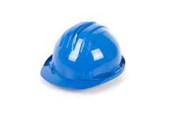 Safety helmet. Blue safety helmet - over a white background Stock Photos