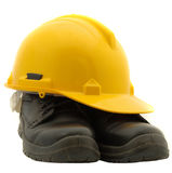 Safety Helmet And Safety Shoes Stock Photos