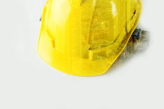 Safety Helmet with City double exposure for City builder. Concept Royalty Free Stock Image