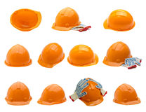 Safety helmet collection on white background Stock Image
