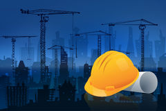 Safety helmet with construction field in cityscape background. 3D Illustration Stock Photos