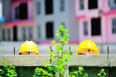 Safety helmet in construction place Stock Photography