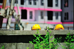 Safety helmet in construction place Royalty Free Stock Images