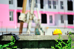 Safety helmet in construction place Royalty Free Stock Photography