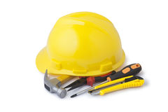 Safety helmet and construction tools Royalty Free Stock Photo