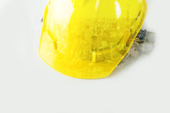 Safety Helmet with double exposure city. On white Stock Photography