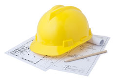Safety helmet and drawings Stock Photos