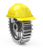 Safety helmet and gearwheel. 3d generated picture of a work safe concept vector illustration