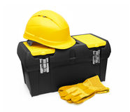 Safety Helmet, Gloves, and Toolbox Royalty Free Stock Photo