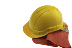 Safety Helmet and Gloves stock photo