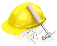 Safety helmet and hammer Royalty Free Stock Image