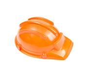 Safety helmet orange construction cap isolated on white backgrou Stock Images