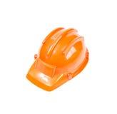 Safety helmet orange construction cap isolated on white backgrou Royalty Free Stock Photo