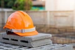 Safety helmet, outdoor working engineer. Stock Photo