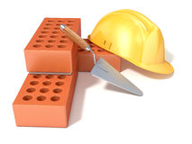 Safety helmet with round perforated bricks and trowel. 3D rend Stock Photo