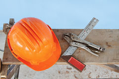 Safety Helmet and standard hand tool Stock Photos