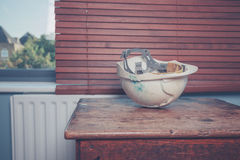 Safety helmet on table Royalty Free Stock Images
