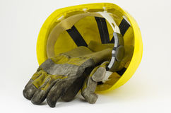 Safety helmet and work gloves Stock Photography