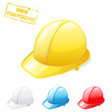 Safety helmets. Vector set of safety helmet in different colors Stock Photos