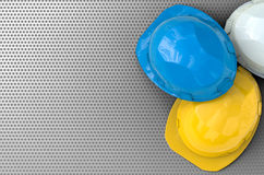 Safety helmets. With blank space top view Royalty Free Stock Image