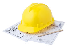 Safety helmets and drawings Royalty Free Stock Photo