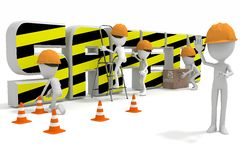 Safety Here. A Health and Safety Area with  men at work Stock Images