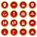 Safety icon red circle set Royalty Free Stock Photos